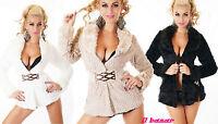 giaccone donna ciniglia ecopelo cintura elastica 3 colori taglie S,M,L,XL