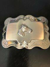 Vintage Collectible Horse Head Silver Nickel Plated Detailed Belt Buckle