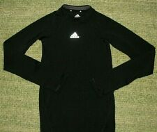 ADIDAS sleek black athletic Base Layer Compression shirt Youth Kids Small S 7/8