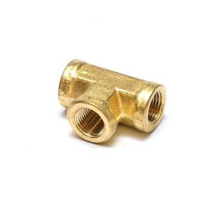 1/8 Npt Female Pipe T Tee 3 Way Brass Fitting Fuel Vacuum Air Water Oil Gas