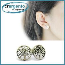 orecchini donna inox albero della vita acciaio da in cerchio a lobo piccoli per