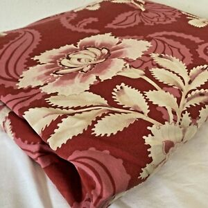 Pottery Barn Red Floral Full/Queen Size 86x86 Duvet Cover Organic Cotton Percale
