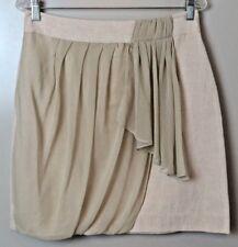 NWT Yoana Baraschi Neutral Shimmer Drape-Sash Linen Blend Skirt Size 8