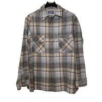 VTG Pendleton Mens Virgin Wool Loop Collar Board Shirt SZ 1X Plaid Gray Blue EUC