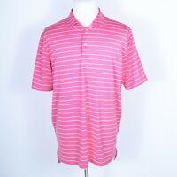 Peter Millar Summer Comfort Pink Striped Polo Shirt Large