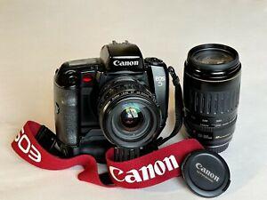 Canon EOS 5 analog mit Winkelgriff mit Canon EF 28-105mm 1:3,5-4,5 USM und Canon