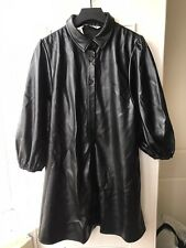 Zara Faux Leather Shirt  Dress, Size  M, Black Brand New