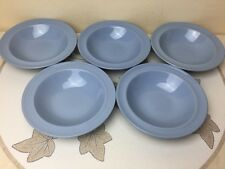 "Woods Ware Iris Cornflower Blue 5 x Rimmed Pudding Bowls  6.3/8"" Seen Little Use"