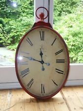 RED CRACKLE PAINTED EFFECT WALL SHABBY CHIC LARGE CLOCK