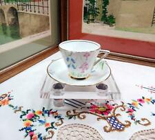 """VINTAGE T.F. & S. PHOENIX BLUE & PINK 2 3/4"""" CUP AND SAUCER SET 1950-1960"""