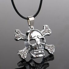 New Crystal Skull Bone Stainless Steel Pendant Necklace Fashion Men Jewelry Gift