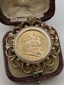 22ct Gold 1910 Half Sovereign Coin In 9ct Ornate Pendant Mount