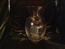 Val St. Lambert Etched  Crystal Vase With Owl