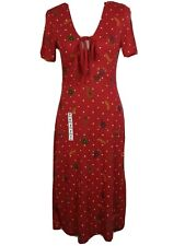 BNWT Zara TRF Red Fruit Dot Stretch Jersey Midi Garden Tea  Dress Sz M 10 12 New