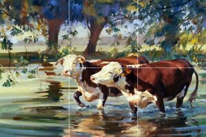 Cow cattle stream farm country Angus brown  Medallion wall tile backsplash 12x18