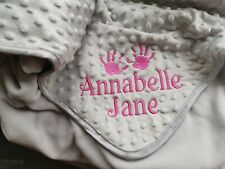 SUPER CUTE BABY HANDS GREY PINK BLUE PERSONALISED EMBROIDERED DIMPLE BLANKET