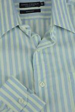 Daniel Cremieux Hombre Verde Azul & Blanco Algodón de Rayas Camisa Vestir 16.5 x