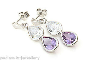 9ct White Gold Amethyst and CZ Teardrop earrings Gift Boxed Made in UK
