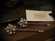 Vintage Style Pearl & Clear Crystal  Hair Pins