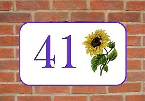 House Door Number Sign Sunflower Design Metal Door Sign