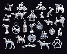 25pcs DOG THEME CHARM SET, Size 14mm to 24mm, Antiqued Tibetan Silver