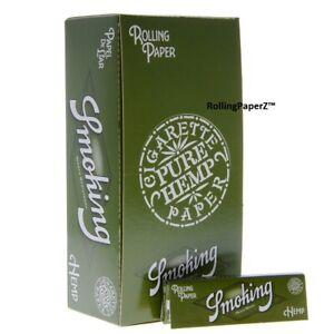 FULL BOX - SMOKING PURE HEMP SINGLE WIDE - Rolling Papers 50 packs/ 60 leaves