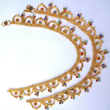 "Indian Gold Plated 10"" Payal Foot Chain Anklet Women kid SET ABDF"