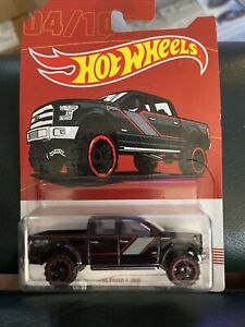HOT WHEELS 2015 Ford F-150 Black Pickup Truck  Red Line