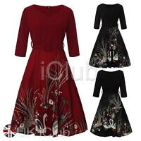 Hot Women Swan 50s Retro Swing Rockabilly Vintage Pinup Evening Party Prom Dress