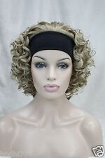 3/4 wig with headband honey ash blonde with blond highlight curly short half wig
