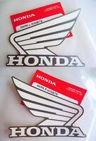 Honda Fuel Tank Wing Decal Wings Sticker x 2 WHITE / SILVER ** GENUINE HONDA **
