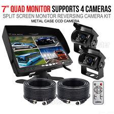 "Caravan Two CCD Camera 4PIN System Trailer 7"" Quad Monitor 12V/24V Reversing CCD"