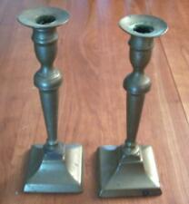 Antique Candlesticks Square Base from approximately 1750's - 1850's Good shape