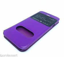 PU Purple Window Case Cover For Apple iPhone 6 Plus 5.5 Inch Phone