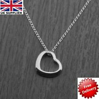 """925 Sterling Silver Floating Heart Pendant Necklace on 18"""" Curb Chain"""