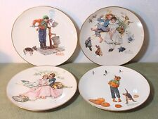 """Norman Rockwell Four Seasons Plates 2-1973 And 2-1977 By Gorham China 10 1/2"""" !"""