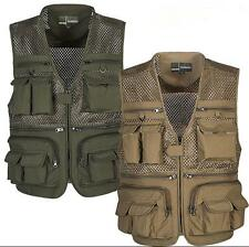 Men's Multi Pocket Camera Outdoor Travelers Fishing Working Photography Vest