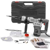 "1400W 1-1/2"" Electric Demolition Hammer Concrete Breaker w/ Chisels Bits +Case"