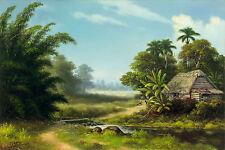 """CUBAN ART #117 ** RODRIGUEZ ** CASA DE LA BRAZA  40 X 27"""" SIGNED ON CANVAS"""