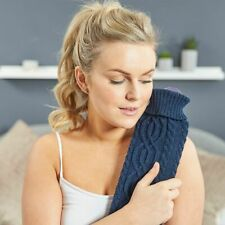 Extra Long 2L Hot Water Bottle Cable Knitted Super Soft Knit Luxury Cover - Navy