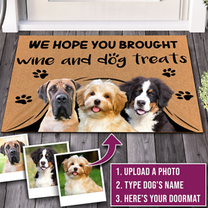 Personalized Custom Funny Welcome Dog Flannel Door Mat for Outdoor & Front door