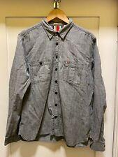 Men's Burberry BRIT Charcoal Grey Button Down Long Sleeve Shirt Sz XL