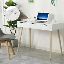 Wood Writing Desk Home Office Computer Desk Drawers and Hutch Study Table White