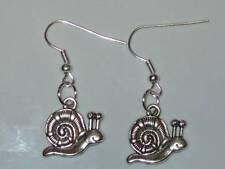 Tibetan Silver Cute Snail Charm Earrings