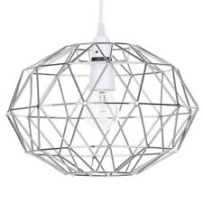 Metal Ceiling Light Shade Modern Wire Frame Oval Cage Easy Fit Chrome Litecraft