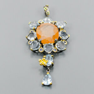 Luxury 50 ct+ gems Sapphire Pendant Silver 925 Sterling  /NP13956