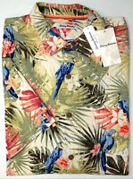 NWT $150 Tommy Bahama Short Sleeve Ivory Blue Floral Parrots Mens Camp Shirt NEW