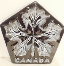 Blue Mountain Pottery Canada BMP Maple Leaf Plate Gloss Black & White Glaze 8.5""