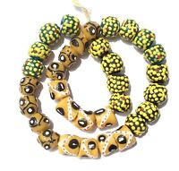 Ghana Mixed Yellow recycled glass handmade Short strand African Trade beads