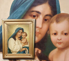 Antique Oil Painting Nazarene Madonna with jesuskind. Mary and jesus. Early